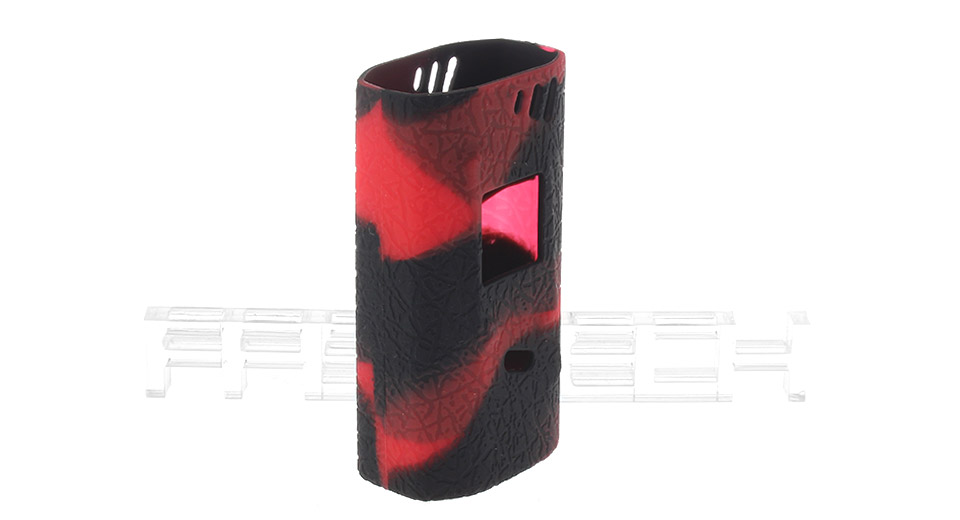 Authentic Clrane Protective Silicone Sleeve Case for SMOK Alien 220W Mod SMOK Alien 220W, Black + Red, textured