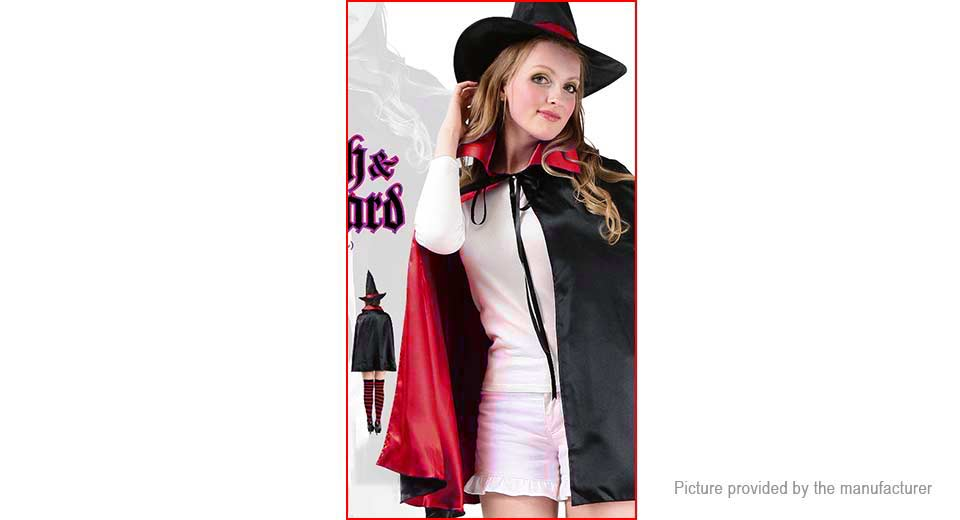 Audlt Halloween Party Cloak Cosplay Costume Cape w/ Hat 90cm, Red w/ Hat