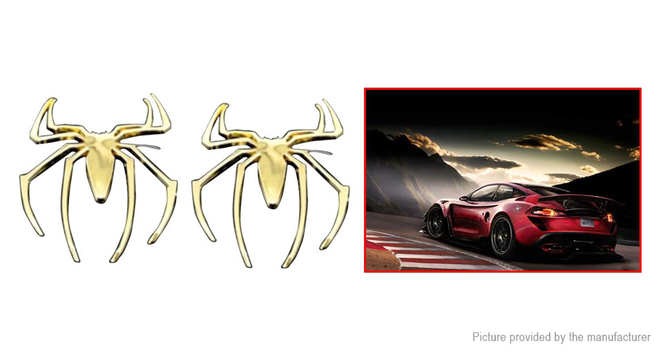 3D Spider Styled Car Decoration Decal Sticker (2-Pack)