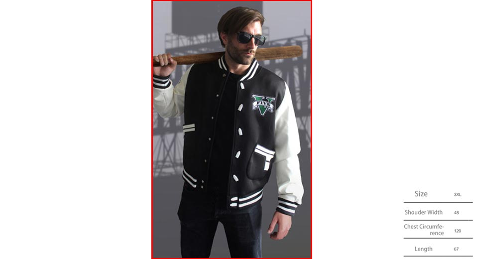 Unisex Long Sleeve Button Front Casual Baseball Jacket Coat (Size 3XL)