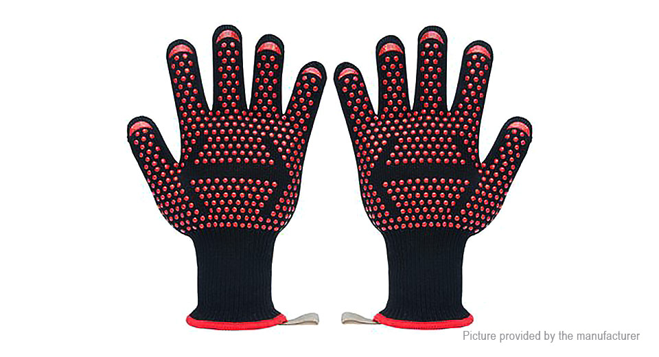 Microwave Oven BBQ Grill Heat Resistant Gloves Mitts (Pair)