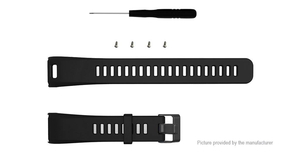 Replacement Silicone Watchband Strap for Garmin Vivosmart HR Black