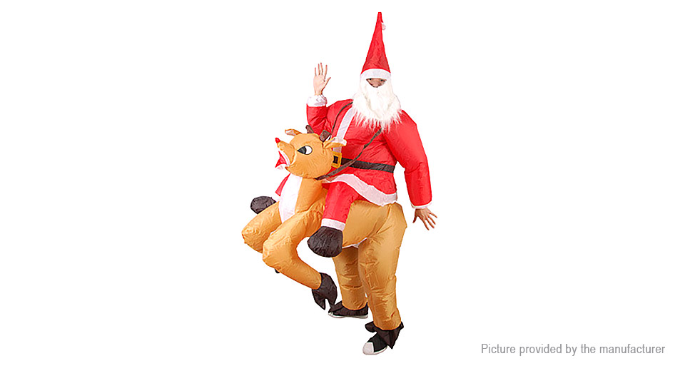 Inflatable Santa Riding Deer Styled Ride-on Christmas Costume Air Blimp Suit, Santa Riding Deer Style