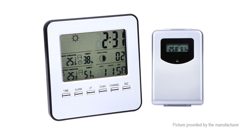 Indoor Outdoor Wireless Weather Station Alarm Clock Thermometer Hygrometer TS-A92