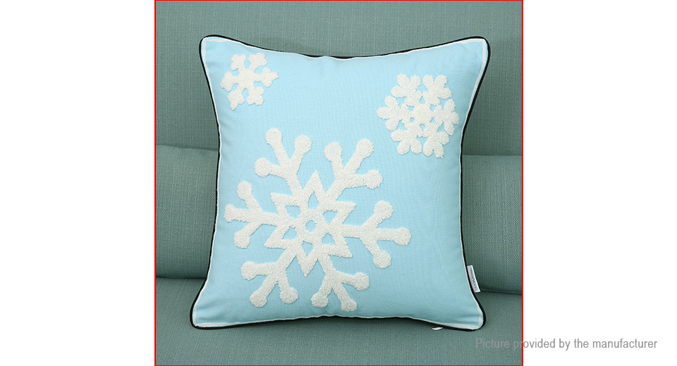 Snowflake Styled Embroidering Pillow Case Cushion Cover Home Decor