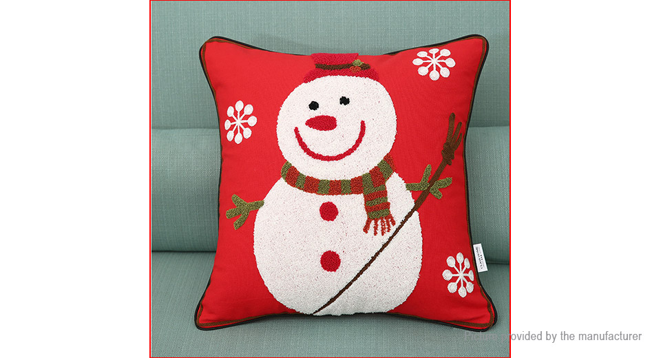 Snowmen Styled Embroidering Pillow Case Cushion Cover Home Decor
