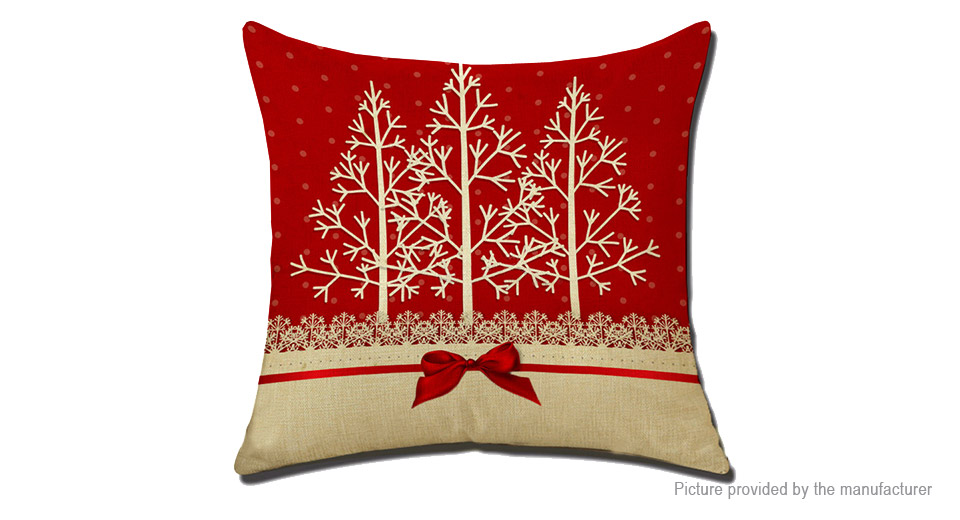 Merry Christmas Jute Linen Square Pillow Case Cushion Cover Home Decor Style H