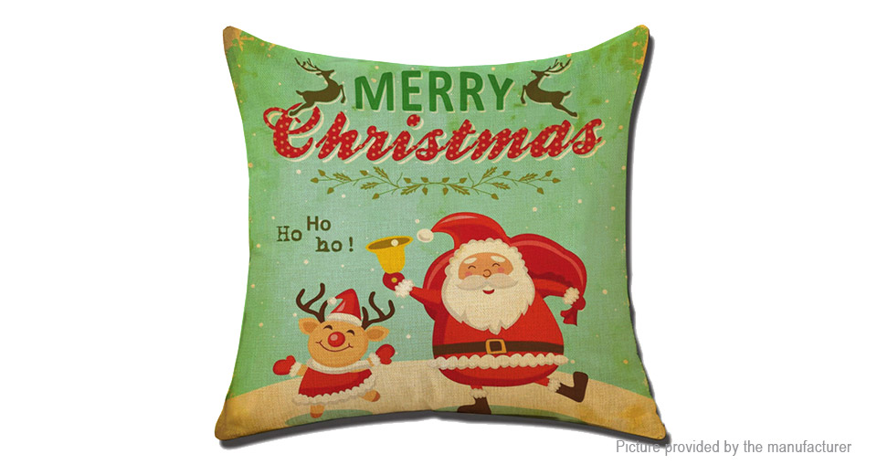 Merry Christmas Jute Linen Square Pillow Case Cushion Cover Home Decor Style G