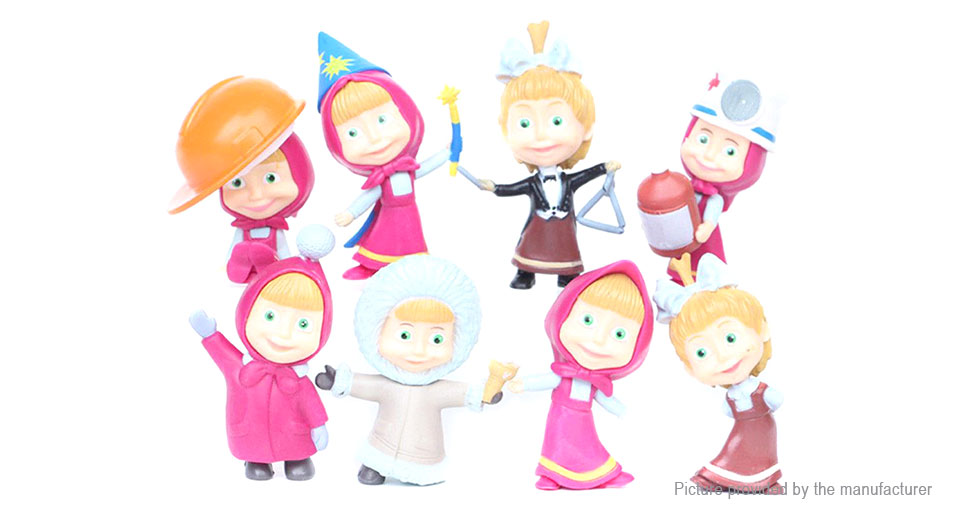 Masha & the Bear Series Action Figure Doll Toy Set (8 Pieces)