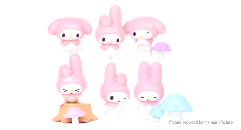 Cartoon Bunny Series Action Figure Doll Toy Set (6 Pieces)