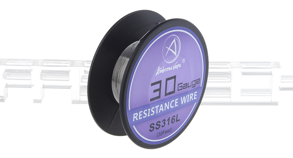 Ambrose Vape 316L Stainless Steel Heating Wire, 316L SS, 30 AWG, 30ft
