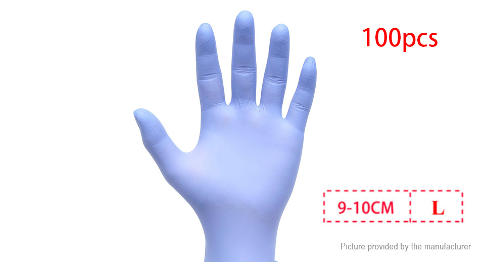 Nitrile Latex Medical Grade Safety Disposable Gloves (Size L/100-Pack)