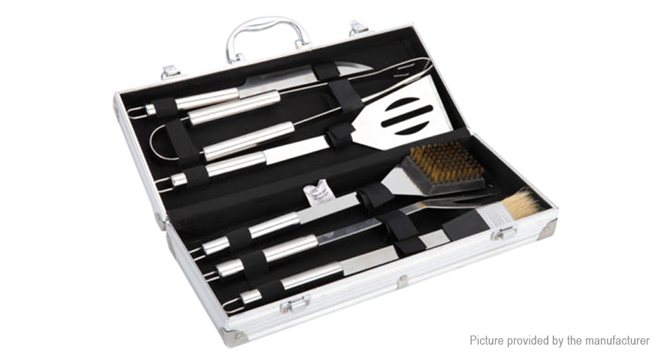 Stainless Steel Outdoor Picnic BBQ Barbecue Grill Cooking Utensil (6 Pieces)