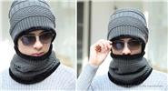 Men's Winter Warm Fleece Lined Knit Beanie Cap & Scarf Set