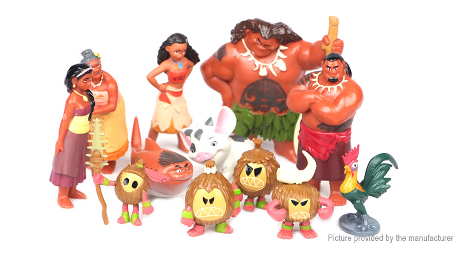 Moana Series Action Figure Doll Toy Set (12 Pieces)