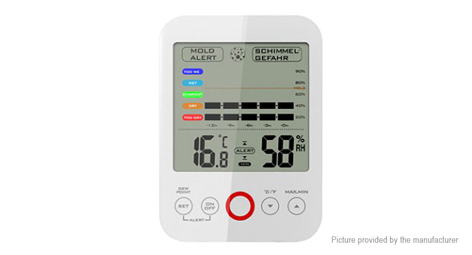 TS-E02-W LCD Digital Touch Screen Humidity Meter Thermometer