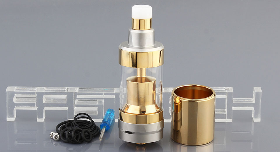 KF 5.2 Styled RTA Rebuildable Tank Atomizer 5.2, 316 SS, Gold + Silver