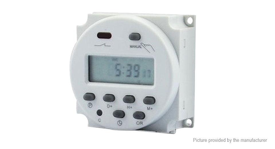 CN101A 12V Digital Weekly Power Timer Programmable Time Relay Switch 12V, White