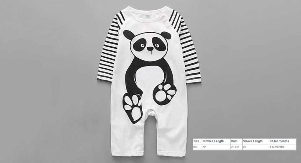 Baby Infant Cartoon Panda Print Warm Romper Jumpsuit (Size 80) Panda Print, Size 80