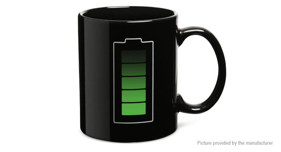 Battery Level Color Changing Heat Sensitive Coffee Mug Cup (301-400ml)