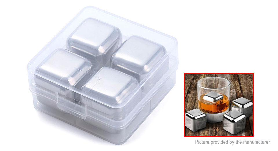304 Stainless Steel Whisky Ice Cubes Stone Drink Cooler (4-Pack)