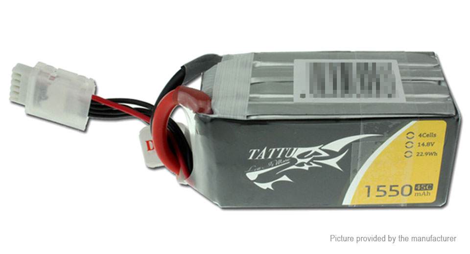 Tattu 4S 14.8V 1550mAh 45C LiPo Battery Pack for for FPV R/C Drone