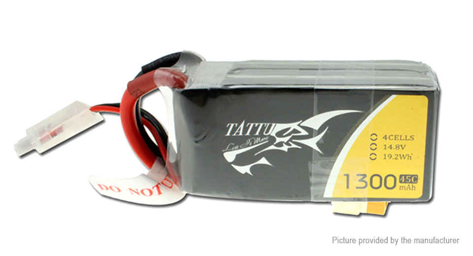 Tattu 4S 14.8V 1300mAh 45C LiPo Battery Pack for for FPV R/C Drone