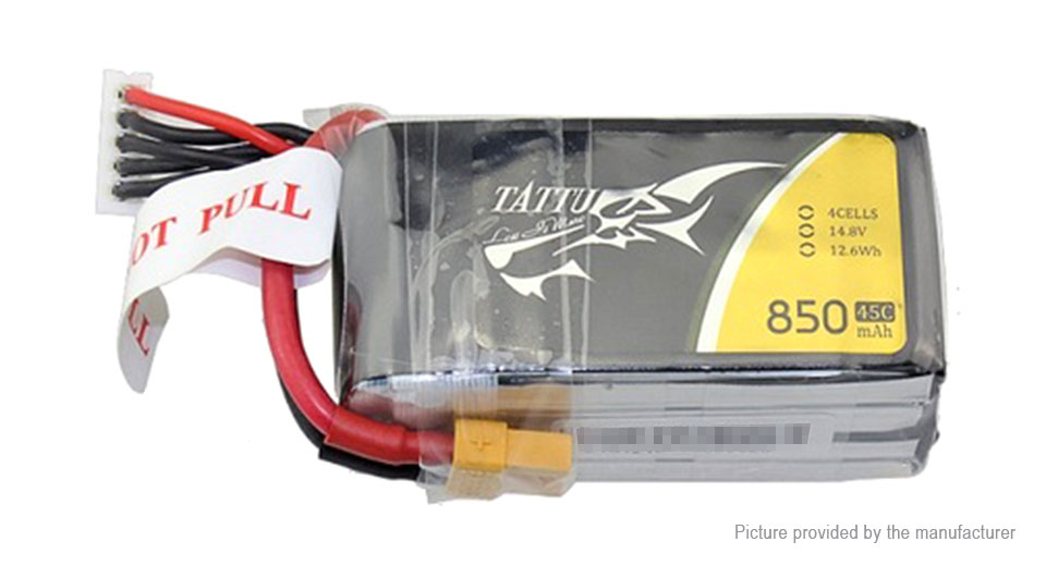 Tattu 4S 850mAh 45C 14.8V LiPo Li-Polymer Battery Pack for for FPV R/C Drone