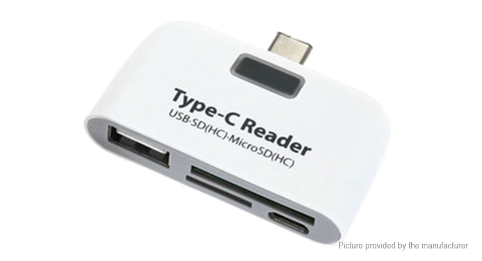 USB-C to MicroSD/SD Card Reader + USB-A + Micro-USB Converter Adapter