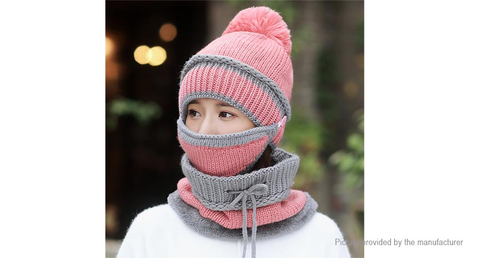 Winter Warm Fleece Lined Knitted Beanie Cap & Scarf Set (3 Pieces)