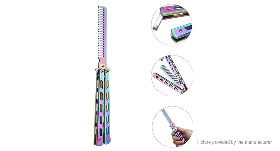 C27 Stainless Steel Folding Practice Butterfly Balisong Trainer Comb C27, Colorful