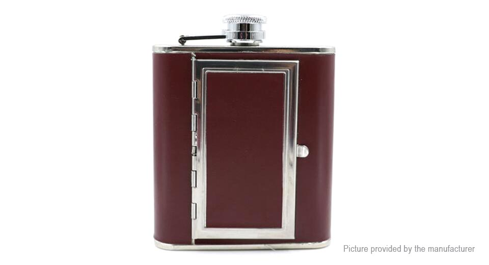 5oz Portable Stainless Steel Whiskey Hip Flask Flagon Wine Pot + Cigarette Case