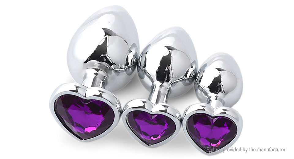 Runyu RYTZ-976 Heart Shaped Adult Metal Anal Plug Butt Sex Toy (3 Pieces)