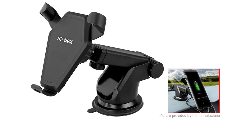 Car Mount Cell Phone Holder Stand Qi Inductive Wireless Charger Transmitter