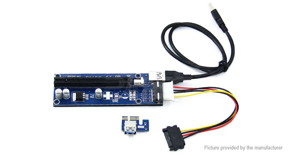 PCIe 1X to PCIe 16X Extender Riser Card Adapter for Bitcoin Miner (60cm)
