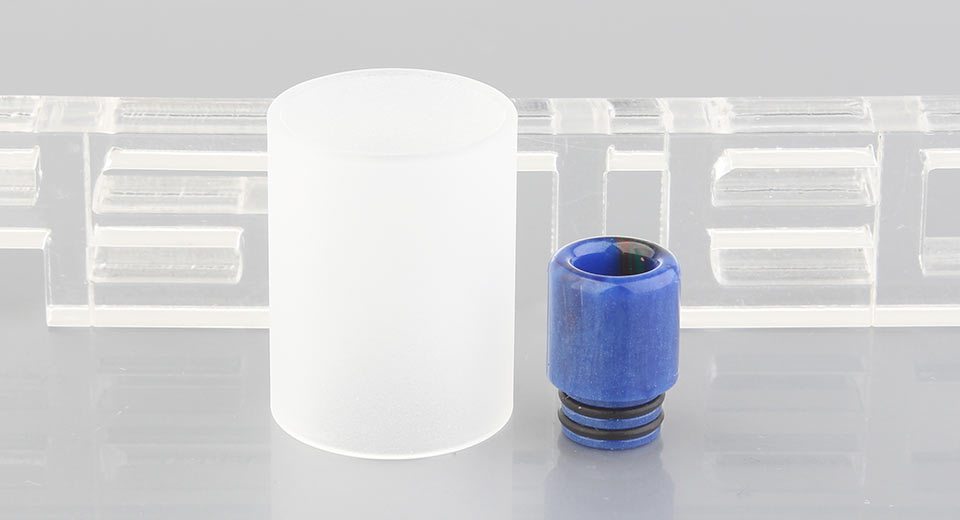 LONG TAI Replacement Tank + Drip Tip for KF V5 Atomizer KF V5, Glass + Resin, Color Changing, Matte White