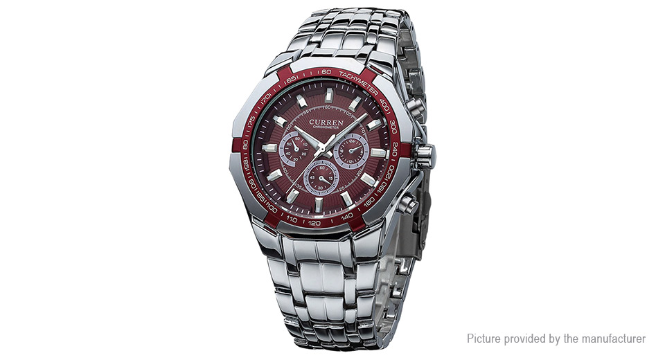 CURREN 8084 Men's Stainless Steel Band Analog Quartz Wrist Watch, 8084, Men, Red