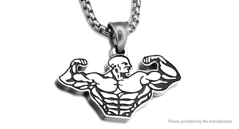 Stainless Steel Muscle Men Pendant Necklace Gym Fitness, Muscle Men, Silver