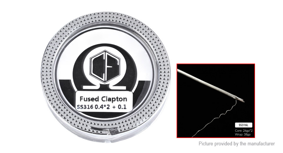 Coil Father 316L Stainless Steel Fused Clapton Heating Wire, 316L SS (fused clapton), 26*2/38 AWG, 5m