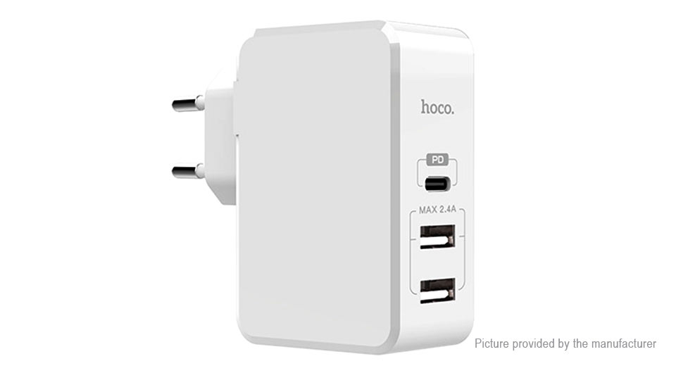 Authentic hoco C32A 3-Port USB Wall Charger Power Adapter (EU)