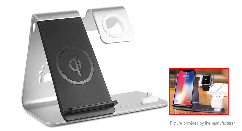3-in-1 Qi Wireless Charger Charging Dock Stand for iPhone / Apple Watch / Airpods