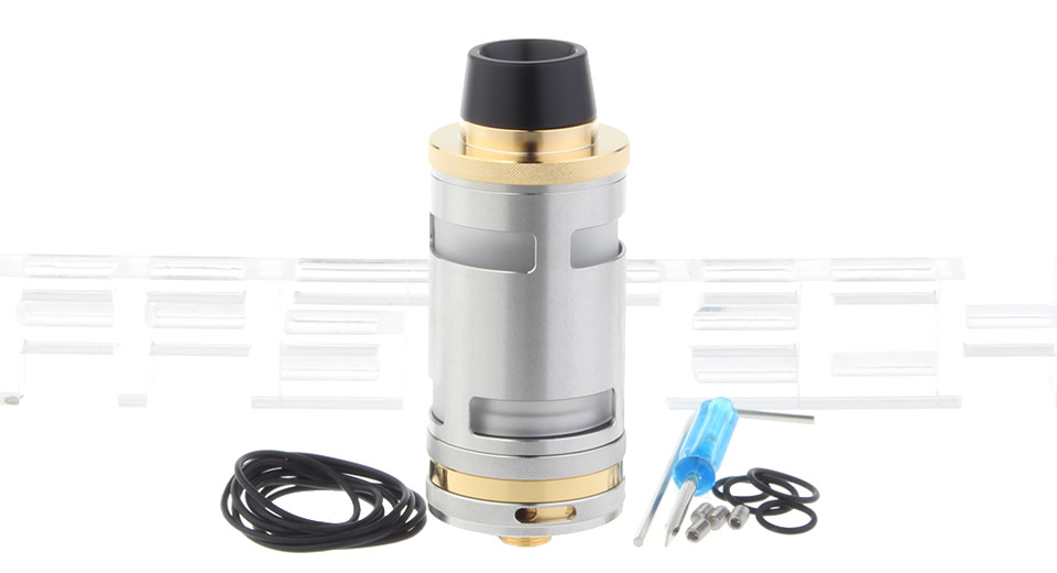 Typhoon GT4 Styled RTA Rebuildable Tank Atomizer, Typhoon GT4, SS + Glass, Gold