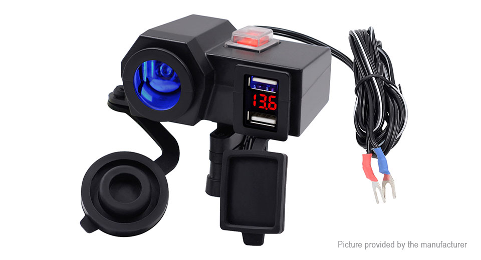 WUPP Car / Motorcycle Dual USB Cigarette Lighter Power Socket + Voltmeter