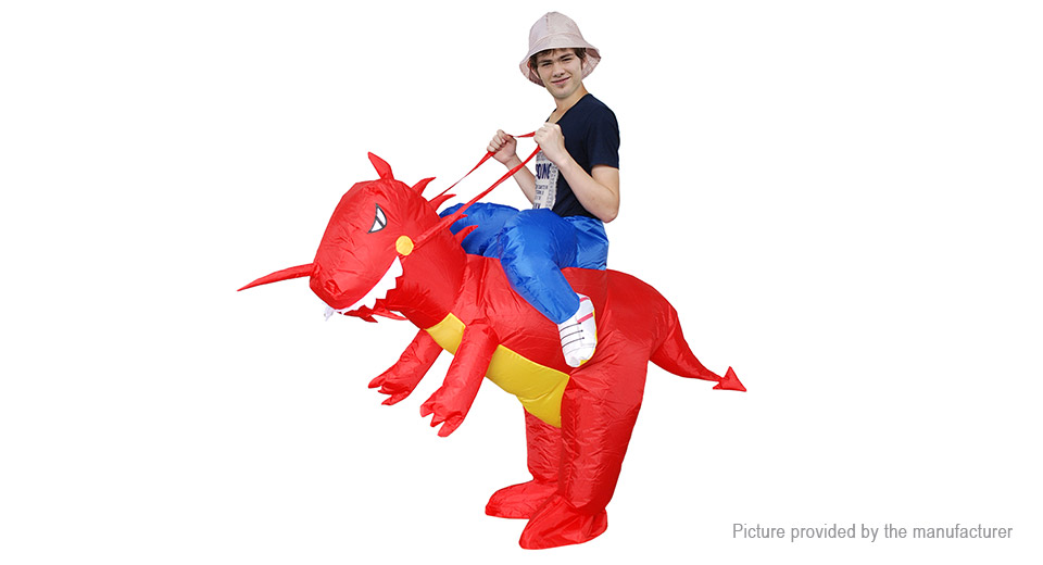 Inflatable Red Dinosaur Styled Ride-on Halloween Christmas Party Costume, Red Dinosaur Styled, Adult