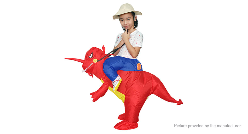 Inflatable Red Dinosaur Styled Ride-on Halloween Christmas Party Costume, Red Dinosaur Styled, Kids