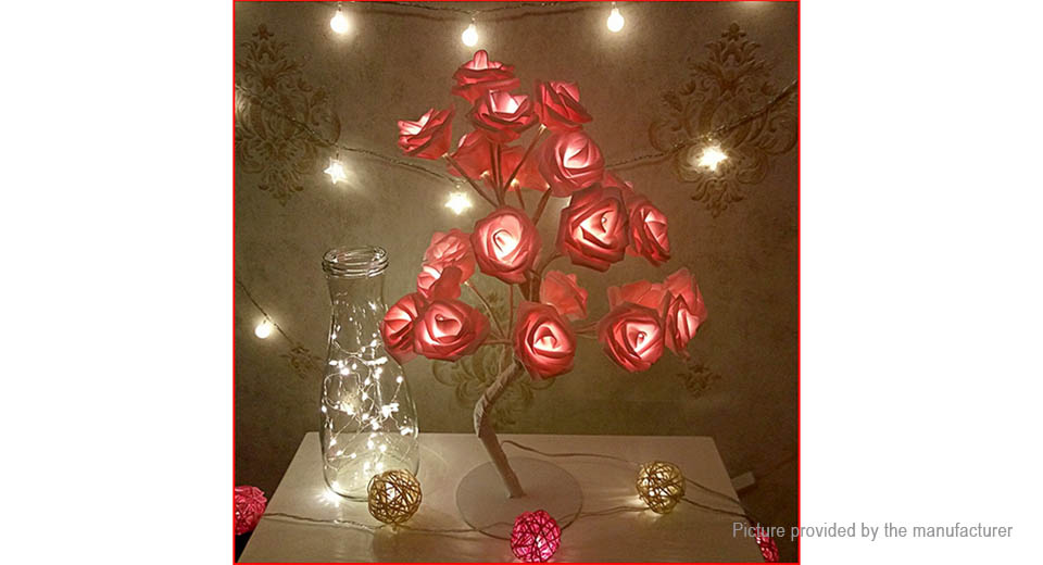 Rose Flower LED Table Lamp Night Light Indoor Bedroom Decor, EU, Pink