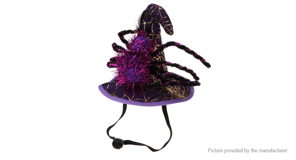 Pet Dog Cat Spider Fancy Cosplay Cap Halloween Christmas Costume, Spider, Purple