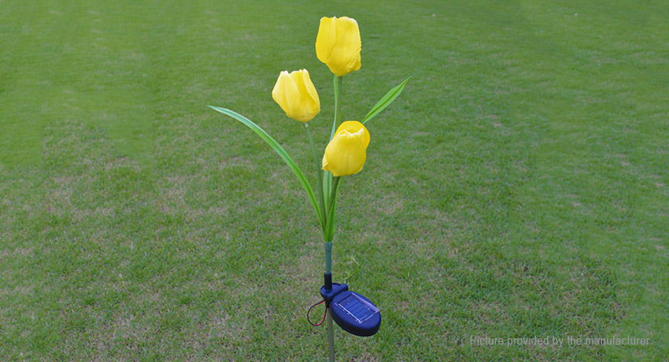 Solar Powered Tulip Styled LED Garden Lawn Decorative Light