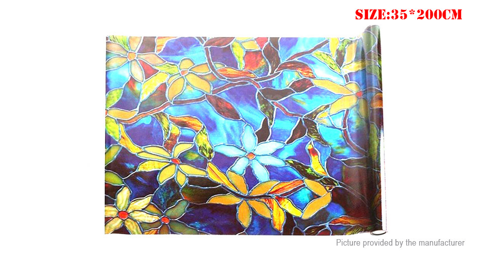 PVC Static Cling Cover Stained Flower Privacy Glass Window Film Sticker