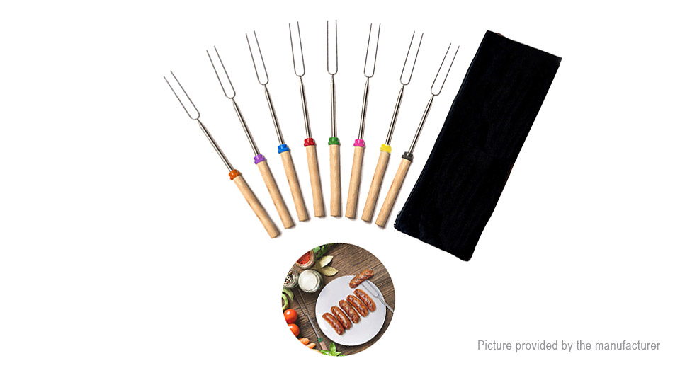 Outdoor Camping Barbeque BBQ Telescoping Roasting Stick (8 Pieces)